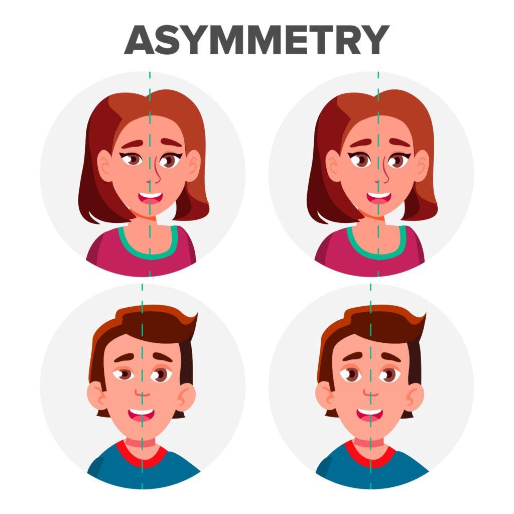 asymmetrical face comparison infographic